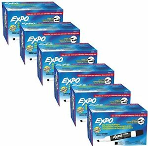 Expo 2 Low odor Dry Erase Markers Chisel Tip 12 pack Black Case Of 6 Dozens
