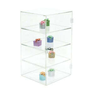 Acrylic Counter Top Display Case 10 x10 x18 5 Locking Security Showcase Shelves