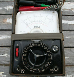 Vintage Tachikawa Model 200c Ibm Voltage Ohm Meter Leather Case Test Equipment
