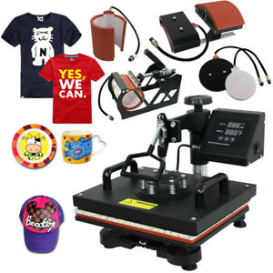 5 In 1 Heat Press Machine Transfer Sublimation Cap T shirt Hat Printing 12 x15
