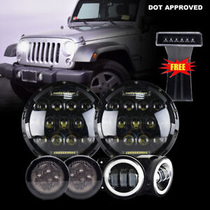 For Jeep Wrangler Jk 7 Led Headlight Fog Light Turn Signal Brake Light Combo