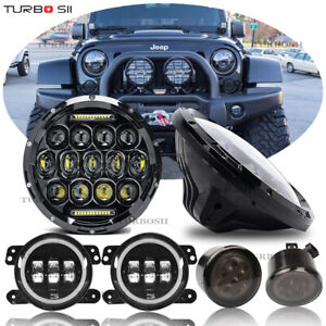 2007 2017 Jeep Wrangler Jk 7 Led Headlight Fog Light Turn Lights Combo Kit