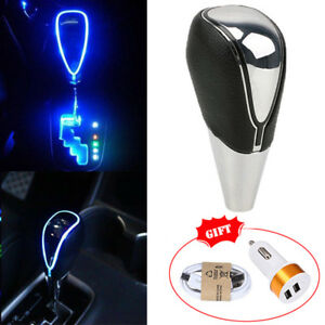 Touch Motion Activated Blue Led Light Auto Car Gear Shift Knob Shifter New