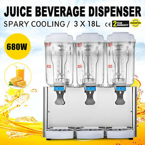 54l Stainless Steel Cold Juice Beverage Dispenser 3 Tank Jet Spray 3x4 75 Gallon