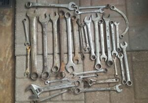 30 Mixed Lot Of Antique Craftsman Proto Napa Sears And Other Wrenches Lot