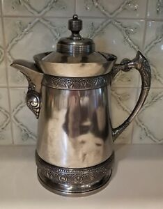 Middletown Plate Co Hard White Metal Water Pitcher Coffee Pot 190 Victorian