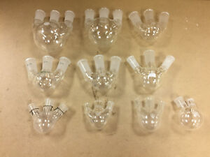 Assorted 3 Neck And 2 Neck Round Bottom Flask Vertical And Angled Necks Lot 10
