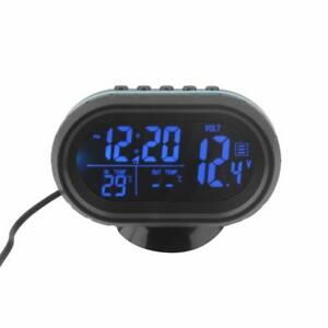 Lcd Digital Car Clock Voltmeter Thermometer Battery Voltage Temprerature Monitor