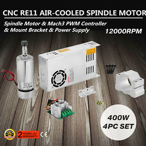 110v Cnc 400w Air Cooling Spindle Motor mach3 Pwm W Mount 480w Power Supply