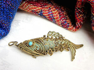 Antique Vtg Chinese Silver Signed Filigree Gold Gilt Fish Necklace Pendant Opens