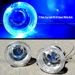 For Eclipse 3 Round Super White Blue Halo Bumper Driving Fog Light Lamp Kit