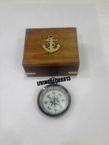 Maritime Push Button Nautical Pocket Compass With Wooden Box