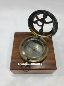 Beautiful Nautical Antique Push Button Compass With Brown Wooden Box
