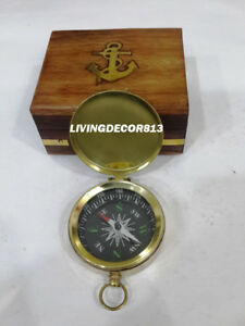 Nautical Push Button Pocket Compass Maritime With Wooden Case