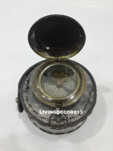 Nautical Antique Push Button Pocket Compass With Leather Case