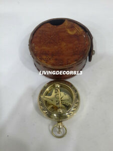 Nautical Push Button Pocket Compass Maritime With Leather Case