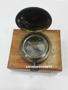 Nautical Ross London Push Button Pocket Compass With Wooden Box