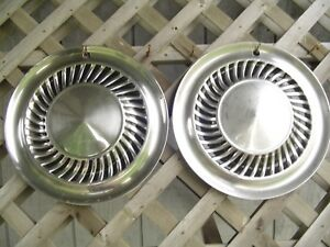 Two 1959 1960 Ford Thunderbird Galaxie Fairlane Hubcaps Wheel Covers Center Caps