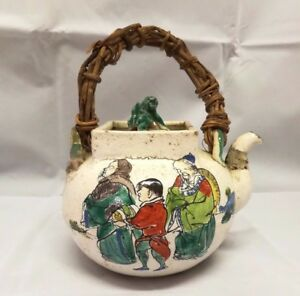 Chinese Antique Ceramics Teapot With Portrait And Poetry
