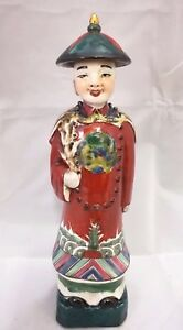 Chinese Antique Famille Rose Porcelain Emperor Figurine Statue With Mark