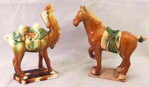 Chinese Antique Sancai Pottery Brown Green Glazed Horse And Camel Statue Pair