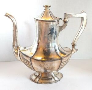 Antique Meriden Silver Plate Coffee Pot Late 1800 S Collectible Serving Pitcher