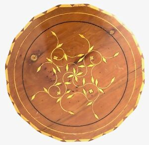 Vintage Wood Inlay Hardwood French Style Marquetry Wooden Disk