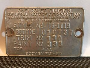 46 1946 Chevy Fleetmaster Cowl Data Body Plate Trim Code Tag