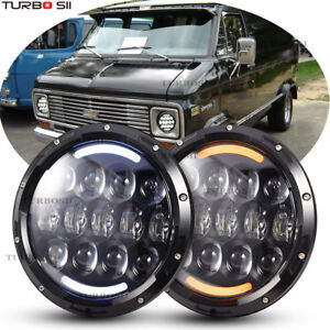 A Pair Dot Round Cree 7 Inch 156w Led Headlights For Chevrolet G10 20 30 C10 20