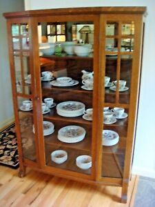Antique Mission Oak China Curio Cabinet Arts And Crafts Style Circa 1910 Vgc