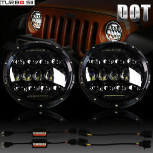 A Pair Cree Dot 7 Inch Round Led Headlamp Headlight For Jeep Wrangler Jk Tj