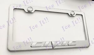 Civic 3d Raised Emblem Stainless Steel License Plate Frame W Caps