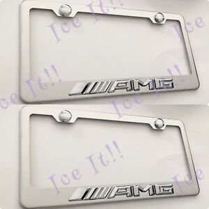 2x 3d Amg Emblem Mercedes Stainless Steel License Plate Frame Rust Free W Caps
