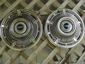 Two 1965 65 Chevrolet Chevy Belair Impala Biscayne Nomad Hubcaps Wheel Covers