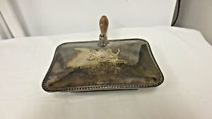 Older F B Rogers Silver On Copper Silent Butler Crumb Tray Wood Handle Major Ab