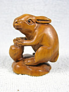 Hand Carved Wood Netsuke Glass Eye Rabbit With Carrot Signed