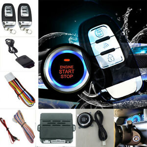 Car Auto Alarm Keyless Entry Ignition Engine System Start Push Button Remote Kit