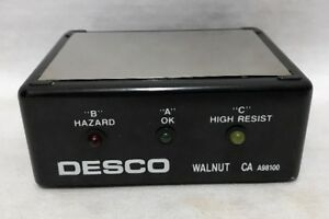 Desco 9v Battery Operated Wrist Strap Tester Portable Tested Walnut Ca A98100