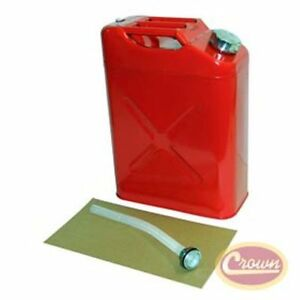 Jeep 5 Gallon 20 Liter Gas Tank Jerry Can Metal In Red With Plastic Nozzle