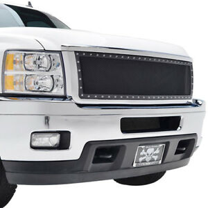 11 14 Chevy Silverado 2500hd Grille Rivet Black Ss Wire Mesh With Chrome Shell
