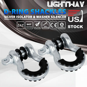 D Ring Bow Shackle W Isolator 2 Pack Tow Strap Winch Off Road Jeep Truck