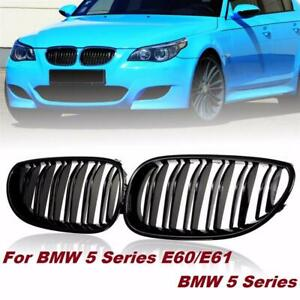2x Gloss Black Front Hood Kidney Grille Grill For Bmw E60 E61 5 Series M5 03 10