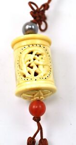 Vintage Bone Dragon Mini Inro Netsuke Box Hanging Charm Case Storage Pouch