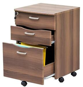 Merax Mobile 3 drawered File Cabinet Document Storage With Locking Drawer Brown
