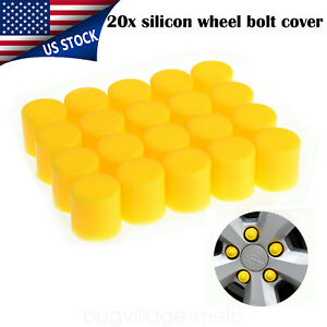 20pcs Car Wheel Lug Nut Bolt Cover Caps Screw Dust Protector Silicone 17mm Black