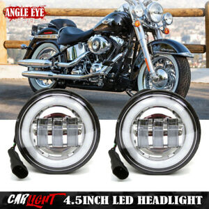 Harley Motorcycle 4 1 2 4 5 Inch White Led Auxiliary Spot Passing Fog Light Lamp