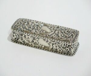 3 25 In Sterling Silver Antique English Floral Snuff Box