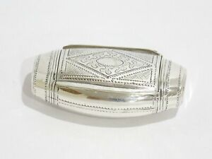 3 25 In Sterling Silver Antique French Cigar Shaped Ornate Snuff Box