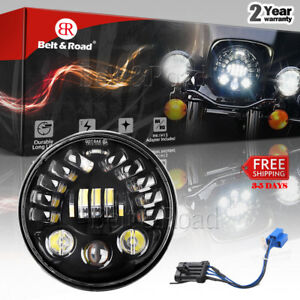 2018 New 7 70w Round Headlight Projector Headlamp Harley Road King With Adapter