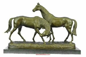 Pair Of Necking Horses Bronze Sculpture 14 X 21 5